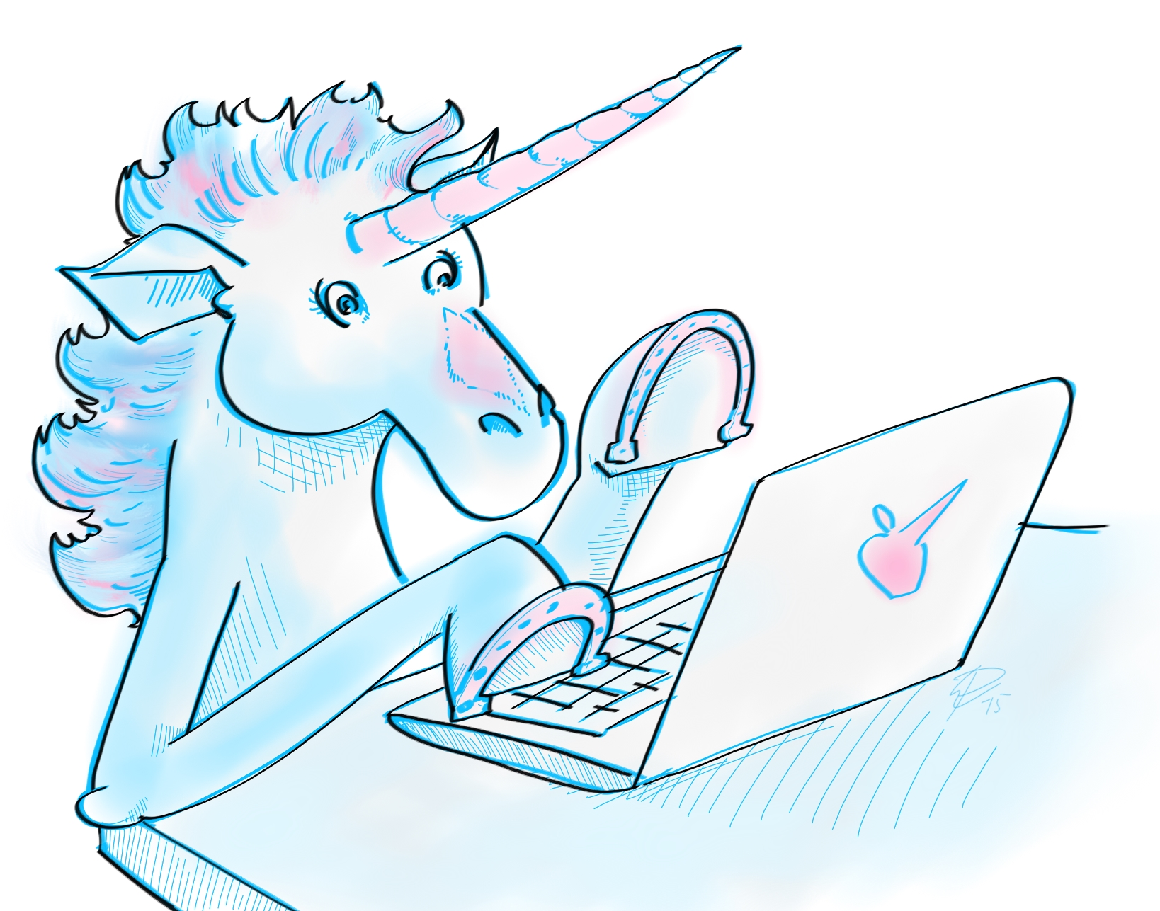 A unicorn on a computer, by request