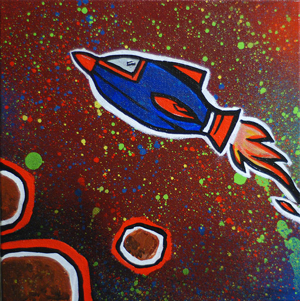 "Rocket Ship, 8x8"" Mixed media on canvas, Paul Watson, 2012"