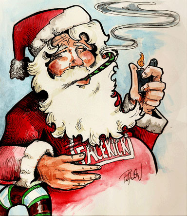 Santa Smoking a Candy Cane