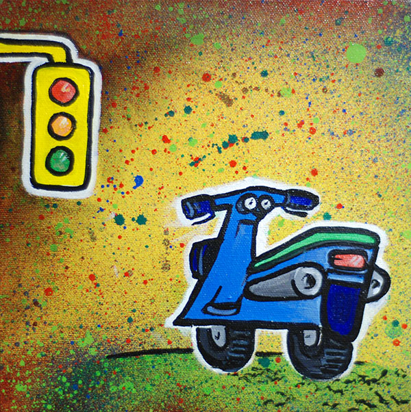 "Scooter, 8x8"" Mixed media on canvas, Paul Watson, 2012"